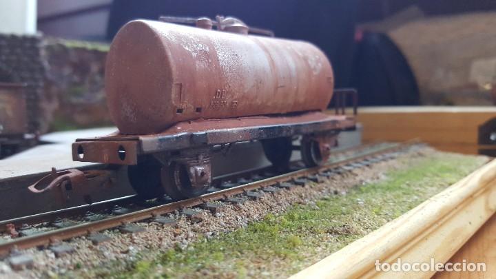 Trenes Escala: Cisterna marklin H0 HO envejecida y barnizada kesselwagen rusted faltan topes - Foto 2 - 219422010