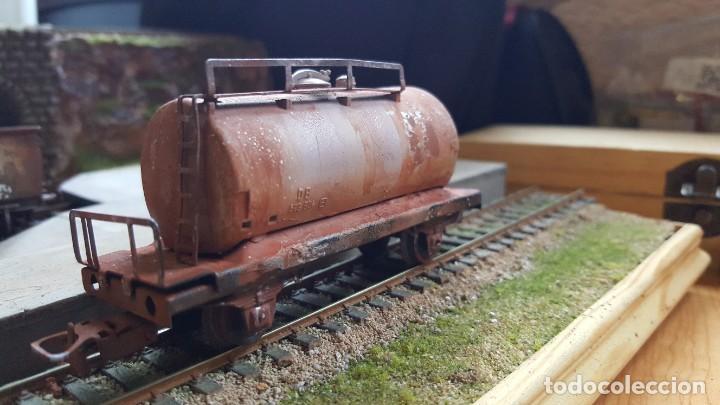 Trenes Escala: Cisterna marklin H0 HO envejecida y barnizada kesselwagen rusted faltan topes - Foto 4 - 219422010