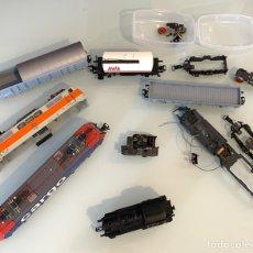 Trenes Escala: MARKLIN HO TREN LOTE DE LOCOMOTORA Y VAGONES ANTIGUOS SIN COMPROBAR. Lote 222034802