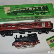 Trenes Escala: LOTE MARKLIN / LOCOMOTORA VAPOR 3029 Y VAGÓN 4035 - ESCALA H0 / MADE IN WESTERN GERMANY ¡MIRA!. Lote 249140390