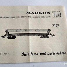 Trenes Escala: MARKLIN H0, INSTRUCCIONES. Lote 254265390