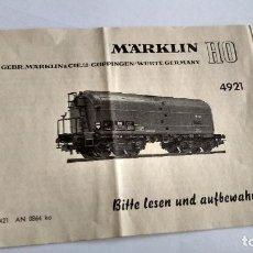 Trenes Escala: MARKLIN H0, INSTRUCCIONES. Lote 254265450