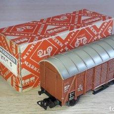 Trenes Escala: VAGÓN CERRADO CON LUCES # 306/1 S, PLÁSTICO ESC. H0 1/87, MÄRKLIN GERMANY, ORIGINAL AÑOS 50.. Lote 265391629
