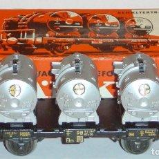 Trenes Escala: MÄRKLIN HO, VAGÓN MUY ANTIGUO DB CON 3 CONTENEDORES BAYER REF. 4520 CON CAJA. Lote 277564688