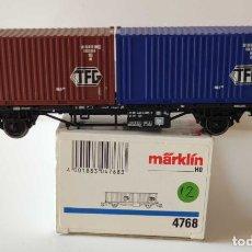 Trenes Escala: MARKLIN VAGON PLATAFORMA CON DOS CONTENEDORES REF:4768 ESCALA H0 CORRIENTE CONTINUA. Lote 278803503