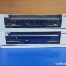 Trenes Escala: LOTE 2 VAGONES PASAJEROS TREN MARKLIN H0 DIFERENTES 1 Y 2 CLASE REF 42641 42642 EN CAJA ORIGINAL. Lote 278959948