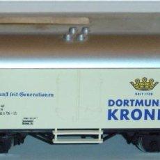 "Trenes Escala: MÄRKLIN HO, VAGÓN FRIGORÍFICO CERVEZA ""DORTMUNDER KRONEN"" REF. 4416 CON CAJA. Lote 283382583"
