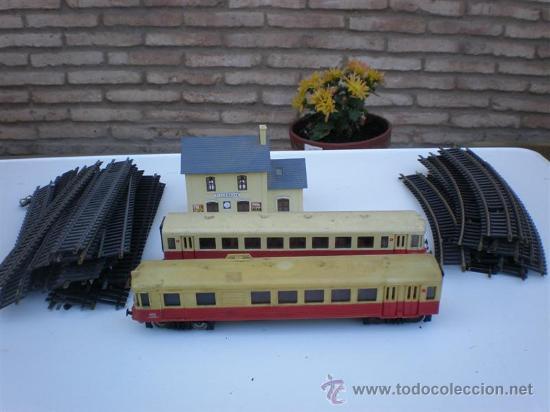 TREN A ESCALA N-17 CON LOCOMOTORA , VAGON, ESTACION (Juguetes - Trenes Escala N - Otros Trenes Escala N)