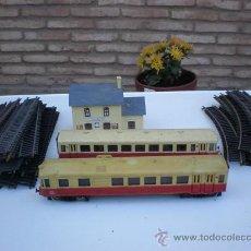Trenes Escala: TREN A ESCALA N-17 CON LOCOMOTORA , VAGON, ESTACION. Lote 10912337