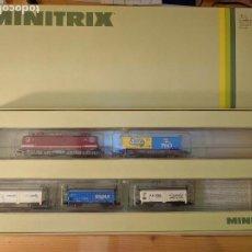 Trenes Escala: NUEVO. SET MINITRIX 11032 CON LOCOMOTORA ELÉCTRICA BR 243 Y 4 VAGONES MERCANCÍAS. ESCALA N.. Lote 63323880