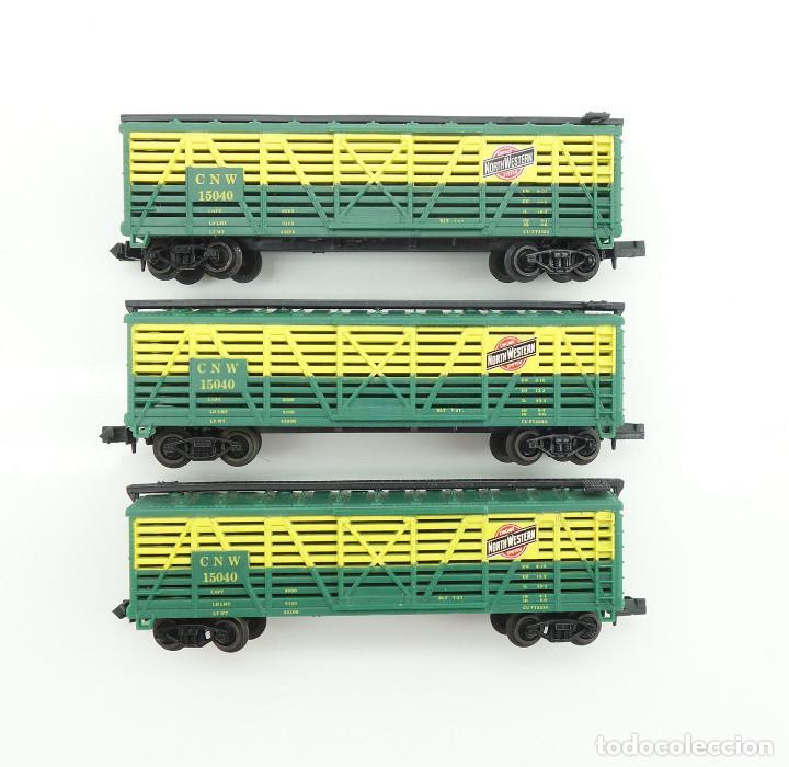 LOTE DE VAGONES GANADEROS LIFE-LIKE US 3X BOXCAR CNW NORTH WESTERN ESCALA N (Juguetes - Trenes Escala N - Otros Trenes Escala N)