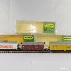 Trenes Escala: LOTE DE 3 VAGONES DE MERCANCIAS CERRADOS DB MINITRIX ESCALA N. Lote 95822875