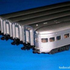 Trenes Escala: CONJUNTO 5 COCHES PASAJEROS Cª SANTA FE, CON LUZ, ATLAS RIVAROSSI ESC. N, ITALY, ORIGINAL 1970. Lote 117405187