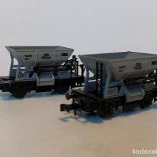 Trenes Escala: MINITRIX 3162 PAREJA DE VAGONES TOLVA TALBOT DE LA ESCALA N. Lote 123218723