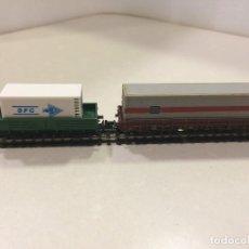 Trenes Escala: MINITRIX TRIX ESCALA N - CONVOY 2 VAGONES BORDE BAJO CON CONTENEDORES. Lote 129094823