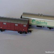 Trenes Escala: 2 VAGONES MERCANCIAS LIMA ESCALA N 3N AÑOS 70/80S. Lote 129383179