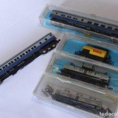 Trenes Escala: SUPER LOTE VAGONES MERCANCIAS Y PASAJEROS ATLAS ESCALA N 3N AÑOS 70/80S + VARIAS CAJITAS. Lote 129383799