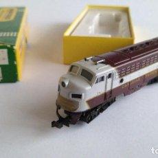 Trenes Escala: TRIX MINITRIX N LOCOMOTORA DIESEL CANADIAN PACIFIC. COMO NUEVA. EN CAJA ORIGINAL.VÁLIDO IBERTREN 2N. Lote 192057415