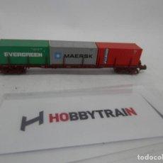 Trenes Escala: VAGÓN PORTACONTENEDOR ESCALA N DE HOBBYTRAIN . Lote 156766794