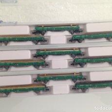 Trenes Escala: TREN, STARTRAIN 70000,CONJUNTO 9 VAGONES 2 EJES BORDE BAJO CON CARGA, ADIF, RENFE,HOBBYTRAIN. Lote 142841926