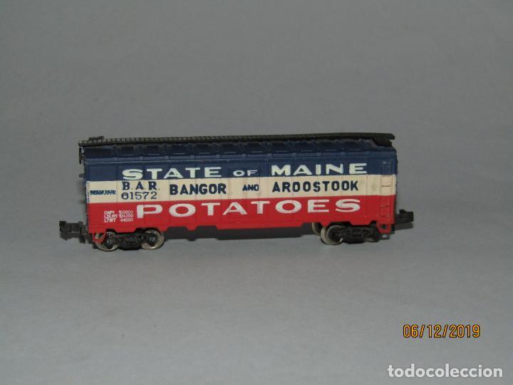 Trenes Escala: Antiguo Vagón STATE of MAINE Potatoes Tipo Americano en Escala *N* Fabricado en Yugoslavia - Foto 2 - 186431142