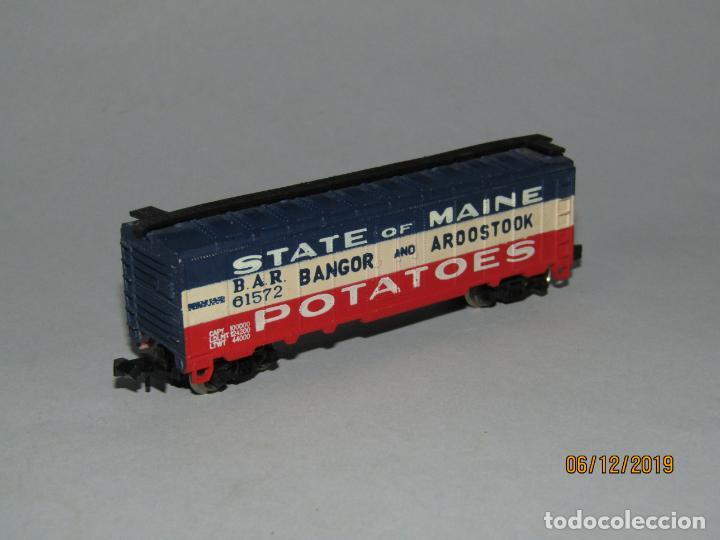 Trenes Escala: Antiguo Vagón STATE of MAINE Potatoes Tipo Americano en Escala *N* Fabricado en Yugoslavia - Foto 4 - 186431142