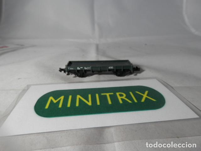 VAGÓN BORDE BAJO ESCALA N DE MINITRIX (Juguetes - Trenes Escala N - Otros Trenes Escala N)