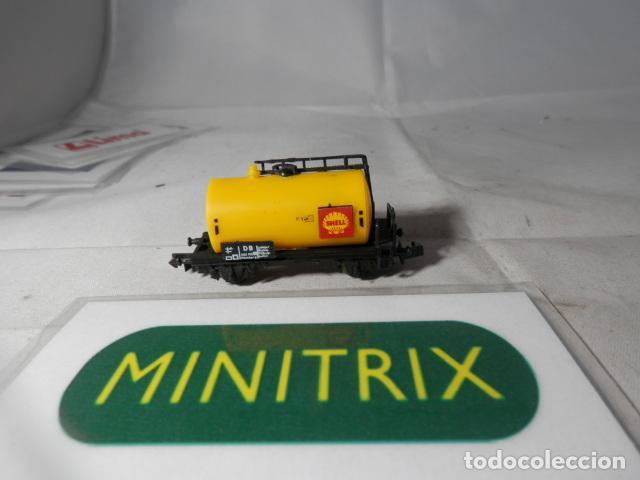 VAGÓN CISTERNA SHELL ESCALA N DE MINITRIX (Juguetes - Trenes Escala N - Otros Trenes Escala N)