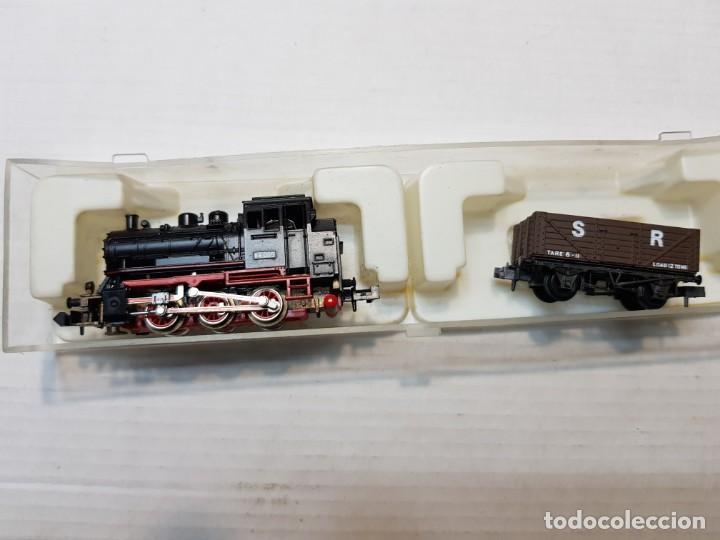 Trenes Escala: Trix Locomotora a Vapor Western Germany escala N con Vagon en blister - Foto 2 - 236688570