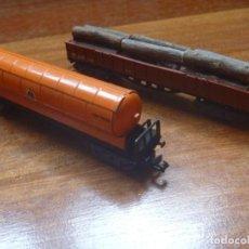 Trenes Escala: IBERTREN REF 142 VAGÓN 4 EJES ORIGINAL TRONCOS Y GAS NARANJA BUTANO. Lote 195538297