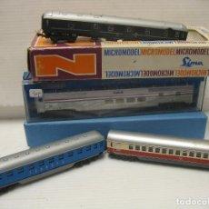Trenes Escala: ESCALA N 4 VAGONES DE VIAGEROS. Lote 217676536