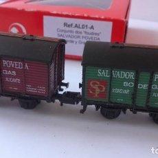 Trenes Escala: SET 2 VAGONES K TRAIN N. REF. AL01-A. DOS FOUDRES BODEGAS SALVADOR POVEDA. ALICANTE.. Lote 219282703