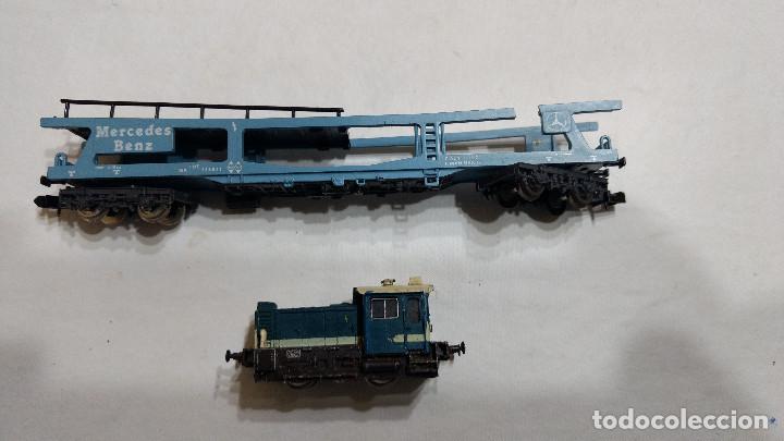 Trenes Escala: DESGUACE MAQUINA Y VAGON PORTACOCHES IBERTREN ESCALA N -BUEN PRECIO - Foto 2 - 239495835