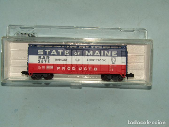 VAGÓN TOLVA DE LA CIA. AMERICANA STATE OF MAINE EN ESCALA *N* DE ATLAS (Juguetes - Trenes Escala N - Otros Trenes Escala N)