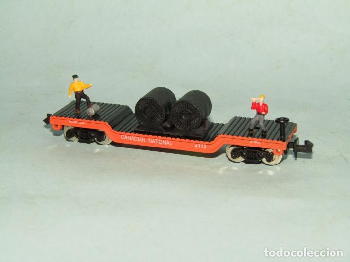 Trenes Escala: Vagón Plataforma con Bobinas de Cable y Obreros en Escala *N* de MODEL POWER - Foto 2 - 257483615