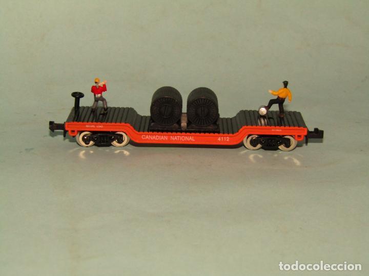 Trenes Escala: Vagón Plataforma con Bobinas de Cable y Obreros en Escala *N* de MODEL POWER - Foto 3 - 257483615