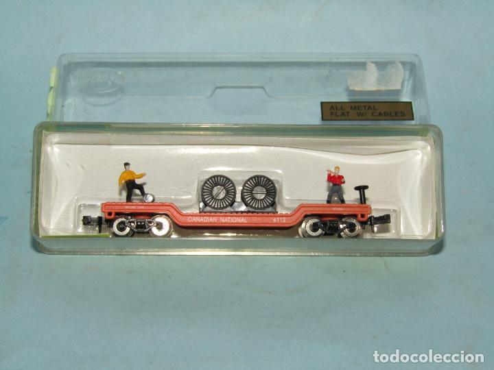 Trenes Escala: Vagón Plataforma con Bobinas de Cable y Obreros en Escala *N* de MODEL POWER - Foto 4 - 257483615