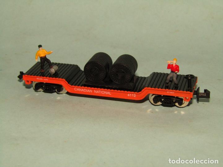 Trenes Escala: Vagón Plataforma con Bobinas de Cable y Obreros en Escala *N* de MODEL POWER - Foto 5 - 257483615