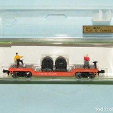 Trenes Escala: VAGÓN PLATAFORMA CON BOBINAS DE CABLE Y OBREROS EN ESCALA *N* DE MODEL POWER. Lote 257483615