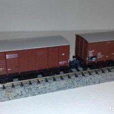 Trenes Escala: MINITRIX N 2 VAGONES CERRADOS -- L49-291 (CON COMPRA DE 5 LOTES O MAS, ENVÍO GRATIS). Lote 264698279