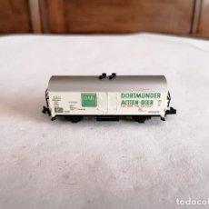 Trenes Escala: MINITRIX N VAGÓN CERRADO CERVECERO DORTMUNDER ACTIEN BIER DB ALEMÁN PERFECTO ESTADO. Lote 287609608