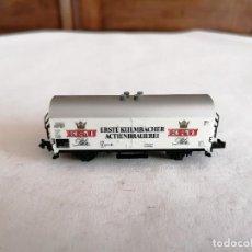 Trenes Escala: MINITRIX N VAGÓN CERRADO CERVECERO EKU ERSTE KULMBACHER ACTIENBRAUEREI DB ALEMÁN PERFECTO ESTADO. Lote 287611298