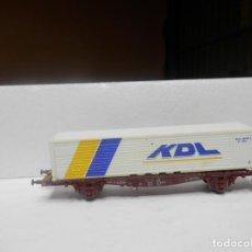 Trenes Escala: VAGÓN PORTACONTENEDOR ESCALA N DE FLEISCHMANN. Lote 292403743