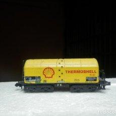 Trenes Escala: VAGÓN CISTERNA THERMOSHELL ESCALA N DE MINITRIX. Lote 293979408
