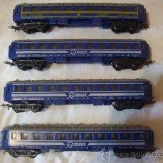 Trenes Escala: 4 VAGONES PAYA EN PLASTICO. 3 VAGONES 1ª CLASE, 1 VAGON COCHE-CAMA. Lote 30159738