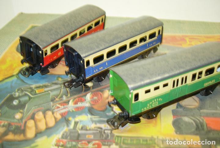 Trenes Escala: Circuito tren PAYA H0 Locomotora, 3 vagones, pasajeros, Correos + cisterna CAMPSA RENFE y vías extra - Foto 10 - 70102858