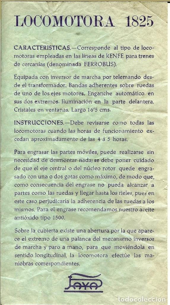 FERROBUS INSTRUCCIONES LOCOMOTORA PAYA (Juguetes - Trenes a Escala H0 - Payá H0)