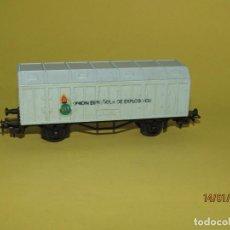 Trenes Escala: ANTIGUO VAGÓN MERCANCIAS UNION ESPAÑOLA DE EXPLOSIVOS EN ESCALA *H0* DE JUGUETES PAYÁ. Lote 146990018
