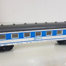 Trenes Escala: VAGÓN RENFE SEGUNDA CLASE BLANCO Y AZUL MARCA PAYA DE 23 CM ESCALA H0 CONTINUO. Lote 184450516
