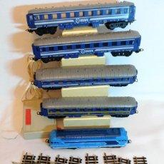 Trenes Escala: TREN PAYA H0.LOCOMOTORA 67000 MAS 4 VAGONES RENFE.VIAS Y TRANSFORMADOR.. Lote 186119927